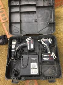 Panasonic impact driver drill twin set