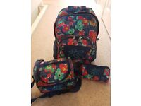 IMMACULATE TOTTO GIRLS SCHOOLBAG WITH MATCHING LUNCH BOX AND PENCIL CASE