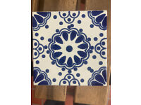 Handmade patterned Mexican tiles 10x10cm. 190 pieces.