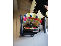 High chair reclines in 3 positions. Folds up. Good condition clean and ready to go.