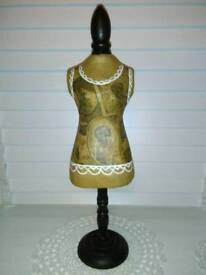 FRENCH CORSET STYLE, JEWELLERY MANNEQUIN, ON WOOD STAND,