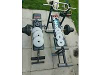 85 kg metal load, 35 plastic load and two bench