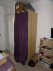 Ikea Pax wardrobe, 75x201x58, white stained oak, with hanging rail pole, dismantled for collection