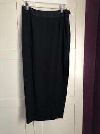 Designer black maxi skirt with split size 14