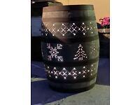 Christmas decorations oak whiskey barrel