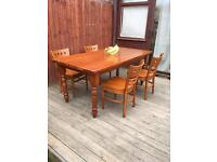 Pine farmhouse dining table & chairs, bargain can deliver