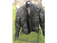 Leather motorbike trousers, jacket and boots
