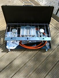 2 Burner gas stove with Grill brand new never used, swap for Delkim, ideal for fishing camping