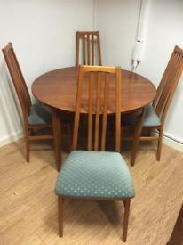 Morris of Glasgow teak table & 4 chairs