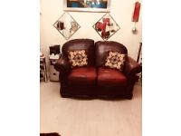 Real leather, hard wood frame sofa set in very good condition