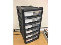 6 Drawer Multi Purpose Stackable Plastic Storage Unit Organiser A4