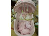 Pink moses basket and rocking stand comes with mattress + 3x sheets