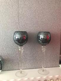 Crackle black glass tea light holders