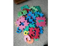Foam alphabet and number shapes