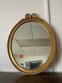 Vintage gilt frame oval mirror 47x63cm