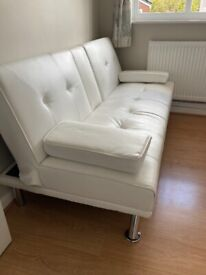 Faux Leather sofa bed - white