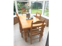 SOLID PINE Dining table and 5 chairs ideal for Up Cycling or Shabby Chic project