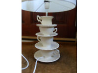 Lovely Next Ceramic Tea Cup Lamp with Shade in working condition