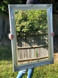 Silver Framed Wide Mirror with Corner Ornaments