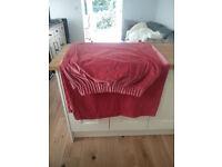 """Dusky pink 100% cotton velvet curtains 89"""" drop"""