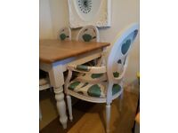 shabby chic, rustic oak farmhouse table & 6 chairs