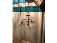 3x matching sliver drop light fittings