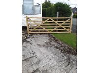 Pair Brand New Farm Gates and Gateposts 10ft x4ft each gate with hinges