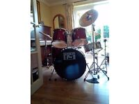 2ND HAND DRUM KIT - SESSION PRO - BURGUNDY RED - EXCELLENT CONDITION