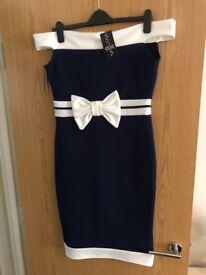 Quiz dress, brand new, blue and cream, size 14