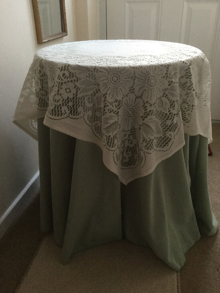 Round Bedside Occasional Or Side Table With Tablecloth