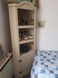solid oak corner unit painted grey