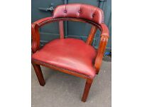 Vintage Red Leather Captains Chair