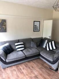 Grey L shaped Sofa with 4 seats