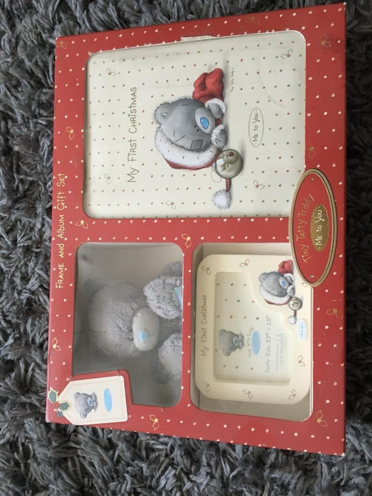 tiny tatty teddy my first christmas frame and album gift set in