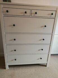 Rare IKEA chest of drawers in good condition with yellow striped drawer liners