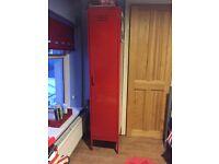 Red locker wardrobe and blue locker chest of drawers