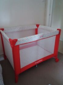 Fisher price red travel cot free soft mattress