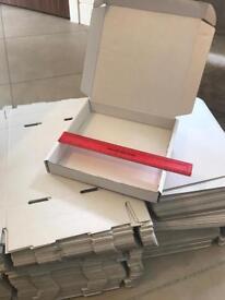 99 White flat pack postal boxes hinge lid 245x242x40mm