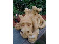 Antique Vintage Style Large Lucky Golden Stone Gargoyle Dragon Garden Statue