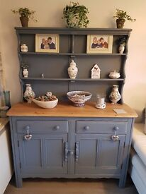 ercol old colonial elm welsh dresser painted in Farrow & Ball