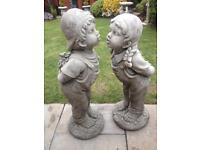 Pair life size stone garden jack and Jill statues, fantastic detail. New