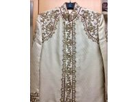 Beautifully hand embellished beaded golden sherwani coat with lining. Size-M/L. Excellent condition!