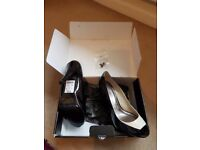 Next Size 6 Patent Leather Open Toed Shoes. New with tags unworn.