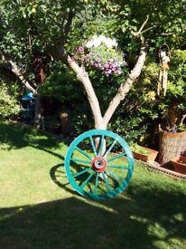 Wooden cart wheel