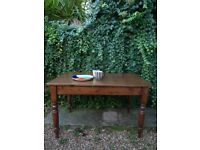 Antique Victorian Solid Wood Farmhouse Breakfast Dining Table With Drawer