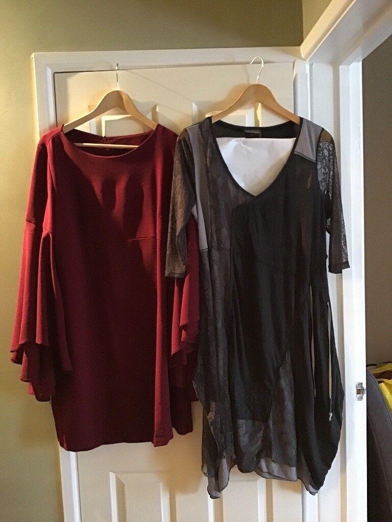 Wine Dress Simply B-size 16-(worn once)-batwing sleeves M Ellem Grey Dress (designer)