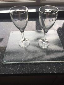 John Rocha Crystal glass set, 2 x Glasses
