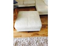 Cream leather sofa with large foot stool