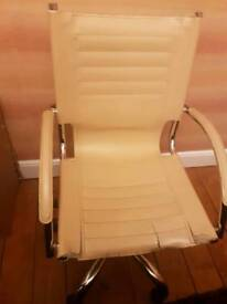 office chair.. beige leather (faux?)
