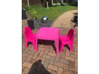 Children's plastic table and 2 chairs